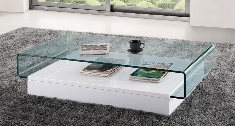 Mesa de centro blanca y de cristal im genes y fotos for Mesas de salon de cristal