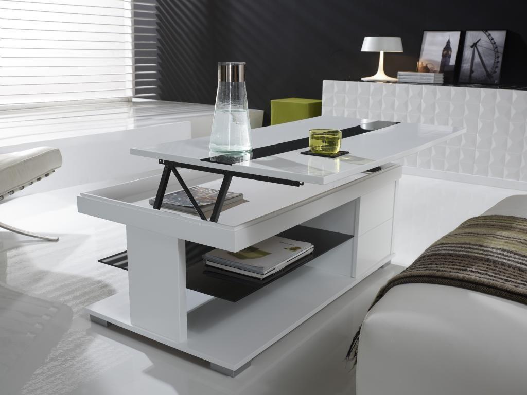 Mesa de centro elevable de color blanco :: Imágenes y fotos