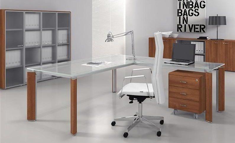 Mesa escritorio de cristal elegant mesa de escritorio - Mesa escritorio cristal ikea ...