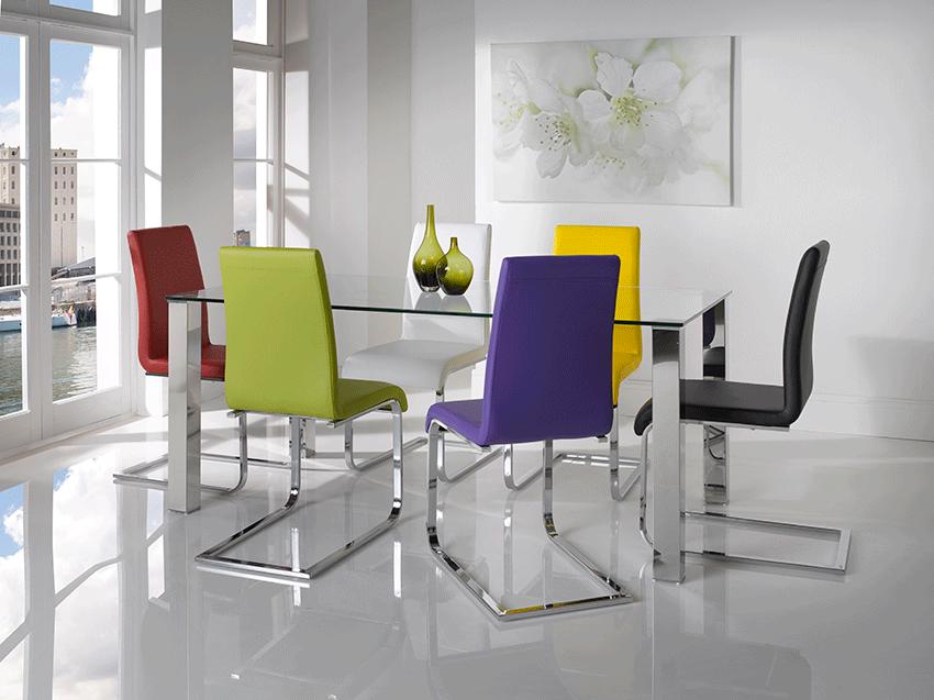 Mesas modernas de comedor for Sillas de metal modernas