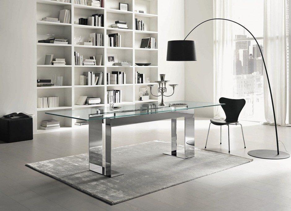 Mesas modernas de comedor for Mesa de vidrio rectangular
