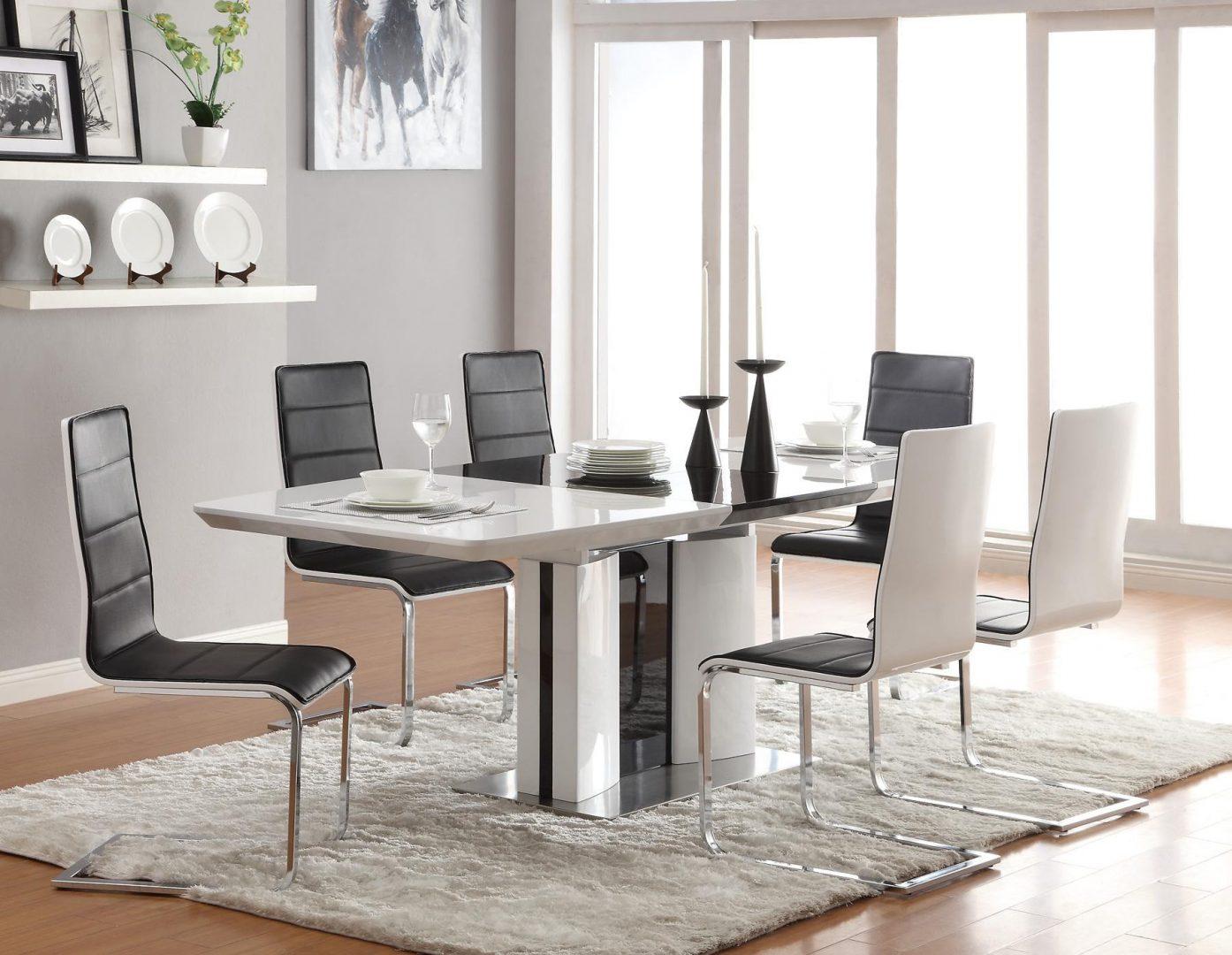 Mesa moderna de comedor en blanco y negro :: Imágenes y fotos