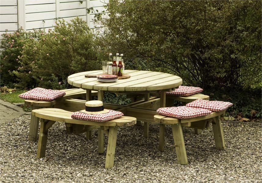 Mesas de madera redondas - Mesas de exterior de madera ...