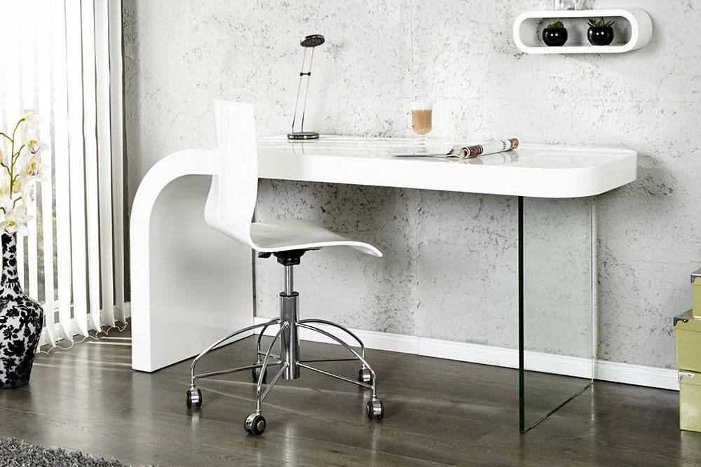 mesa de estilo redondeado y cristal lateral para despacho - Mesas De Despacho Modernas