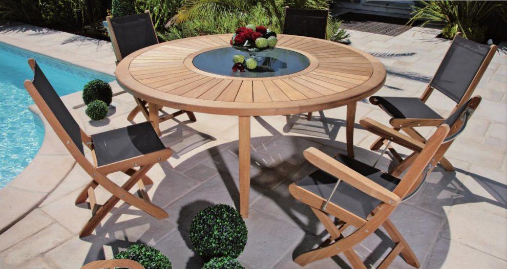 Mesa redonda de madera para jard n im genes y fotos - Mesas de madera de jardin ...